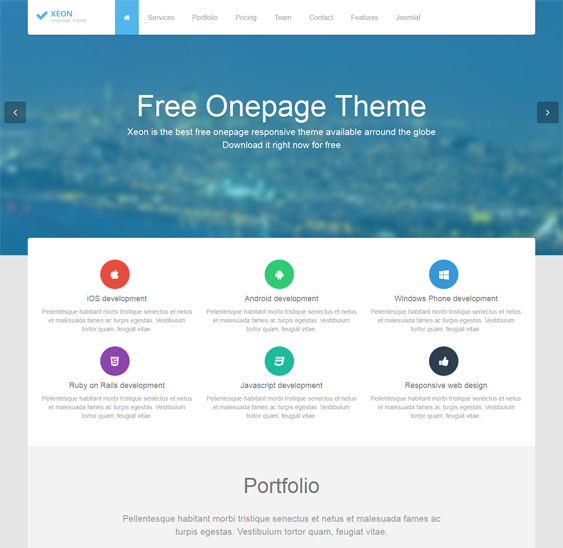 This Free Single Page Joomla Template Offers A Responsive Layout Portfolio Pricing Table Slideshow And Customer Testimonial Modules 3 Preset Styles For