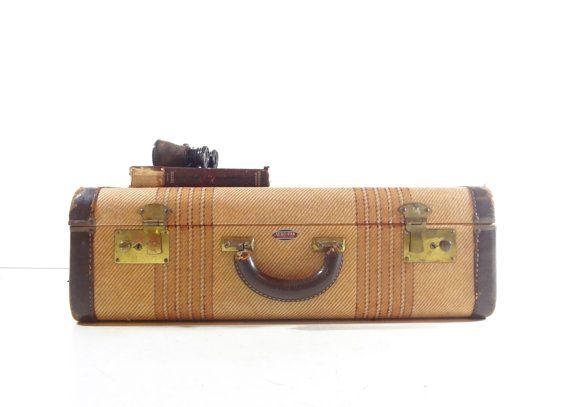 Vintage Tweed Striped Suitcase Vintage Luggage by GrayGardenDecor