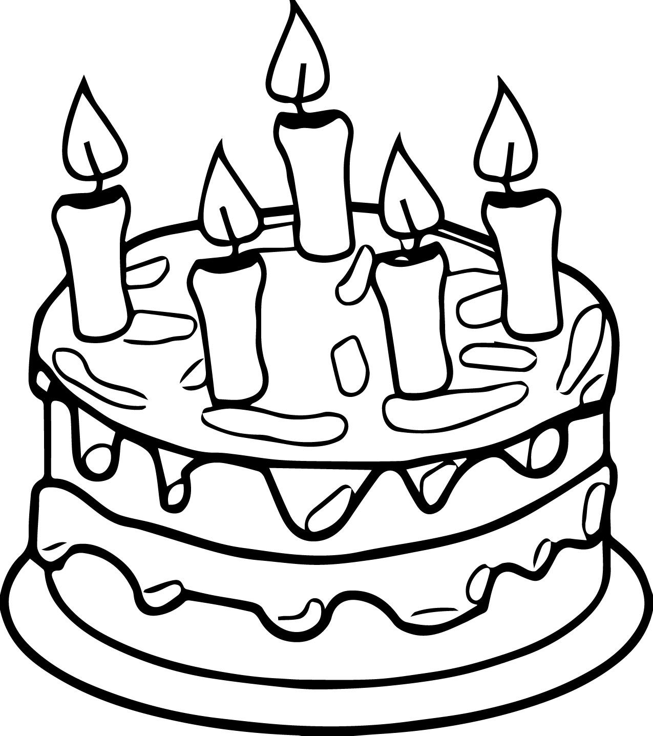 Cool Birthday Cake Candle Coloring Page Happy Birthday Coloring
