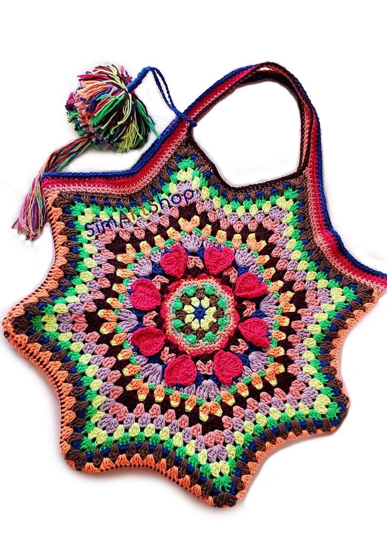 Photo of Häkeln Mandala Tasche, bunte Oma Octagon Tasche, Festival Tote, Boho Tasche, strukturierte Tote, große Schultertasche, Baumwolle Tote, kostenloser EXPRESS-Versand