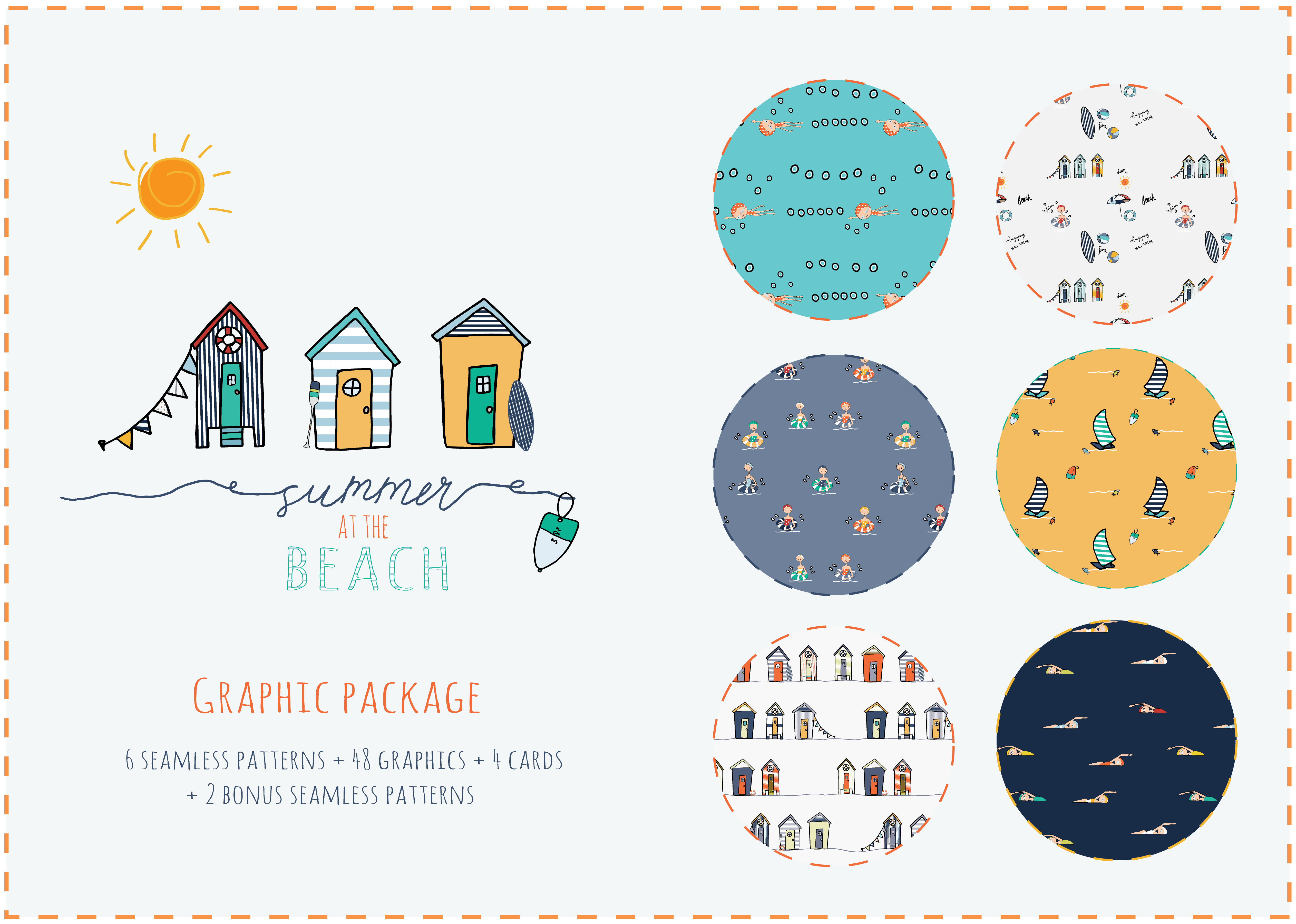 summer at the beach graphic package 6 2 bonus seamless patterns
