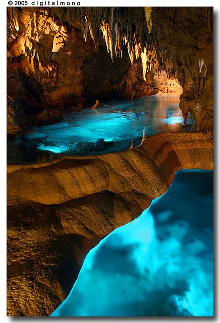 Illuminated cave in Okinawa, Japan.