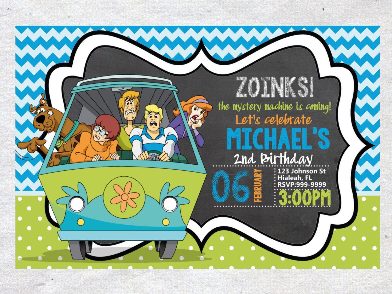 Scooby Doo Birthday Invitation Chalkboard Chevron Pattern Scooby Doo ...
