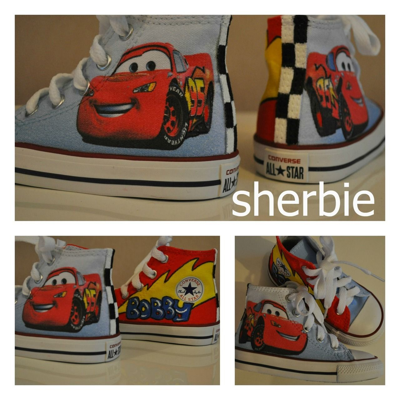 686f9ba92439 Sherbie.co.uk - Cars Lightning Mcqueen custom Converse shoes