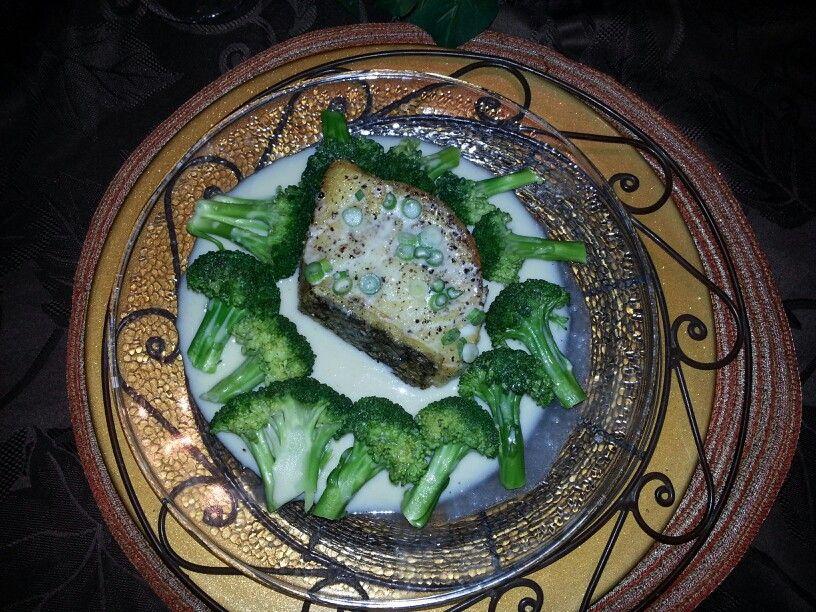 Chilean sea bass with orange citrus beurre blanc and broccoli