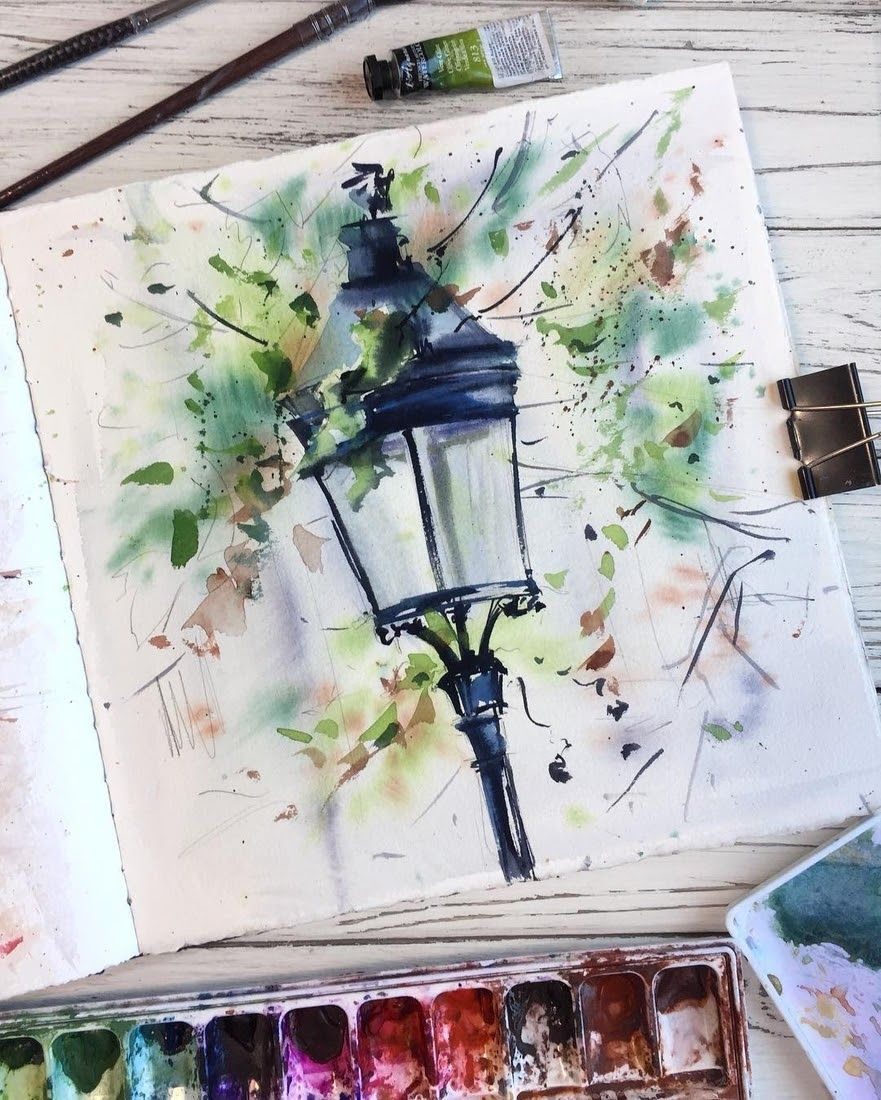 Street Lamps Oil Lamps And Candle Light Lamps Watercolors