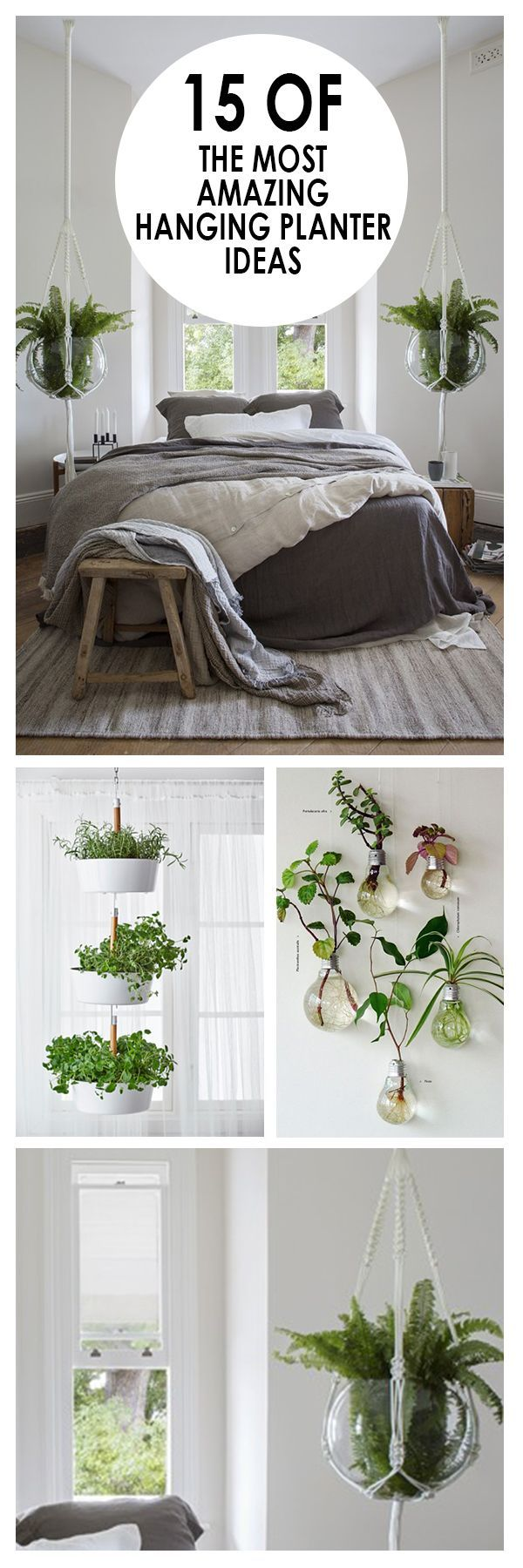 15 of the most amazing hanging planter ideas diy pinterest drinnen drau en und pflanzen. Black Bedroom Furniture Sets. Home Design Ideas