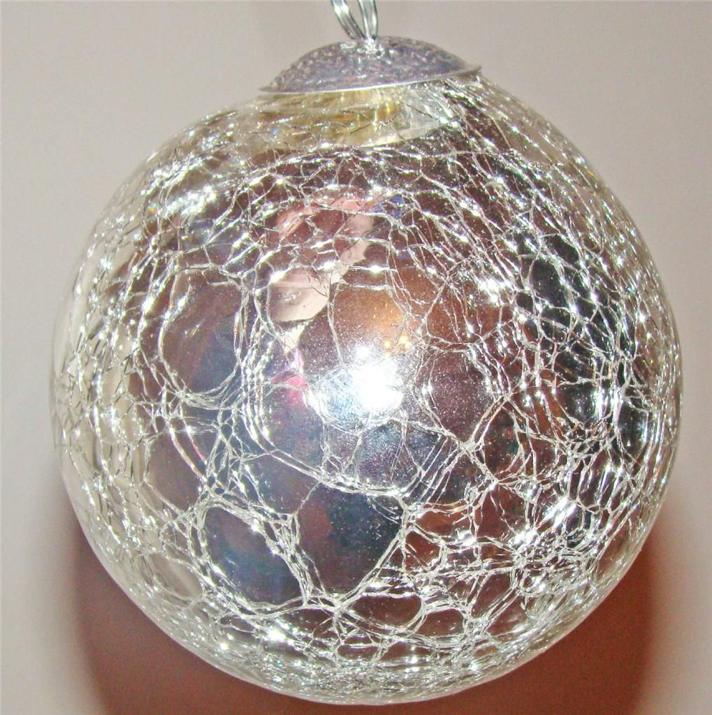 Glass christmas ball ornaments - Round Christmas Ball Ornaments Kugel Style Silver Crackle