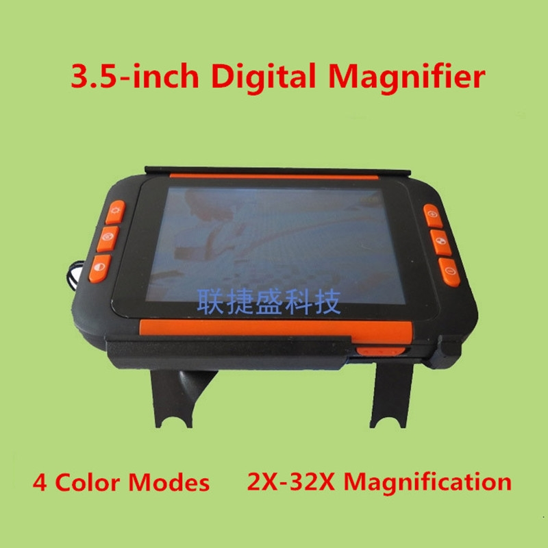 98.80$  Buy now - http://alii4t.worldwells.pw/go.php?t=32779872700 - 4 Color Modes 2X-32X HD Portable Electronic Digital Magnifier Low Vision Reading Aid with 3.5 inch LCD display Parents Gift