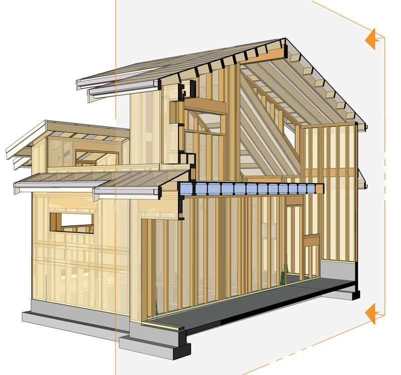 E46th virtual construction stick framing house framing for Sketchup building design