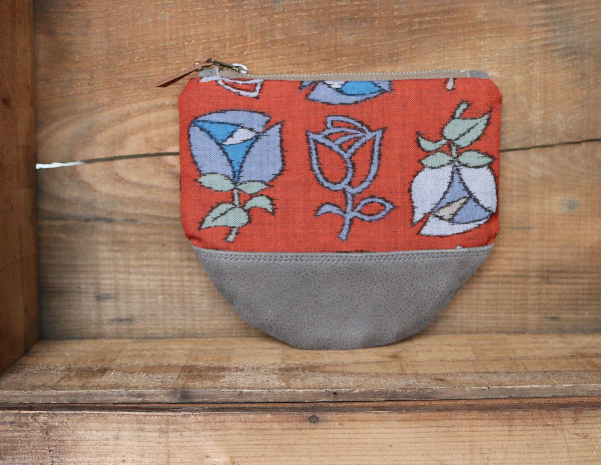 "This beautiful Large size Kimono × Leather Wallet is made of "" Beautiful Tulip motif "" Vintage Japanese woven "" Kasuri "" Kimono fabric ( 100% Silk ) and Beautiful Gray Suede leather."