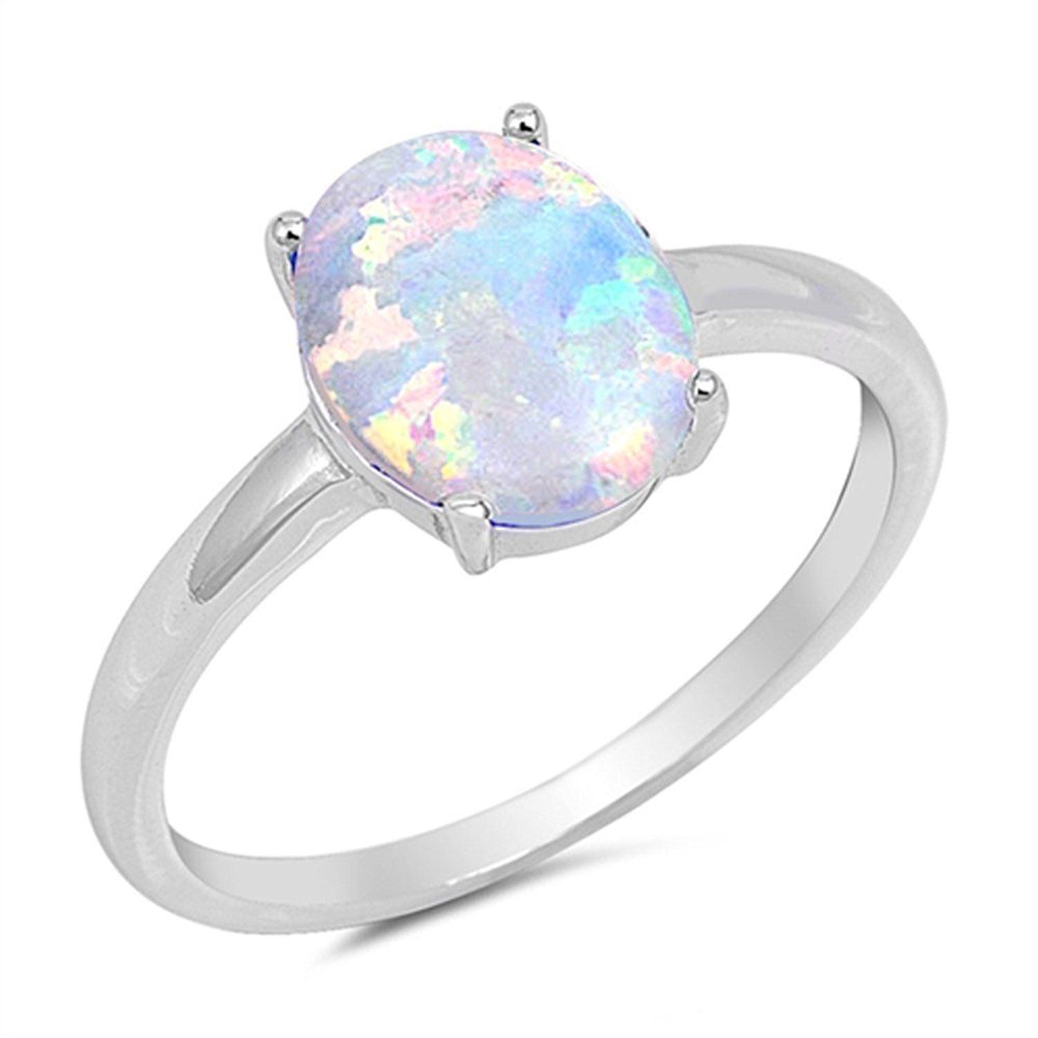 Light Blue Lab Opal White CZ Cluster Ring .925 Sterling Silver Band Sizes 4-12
