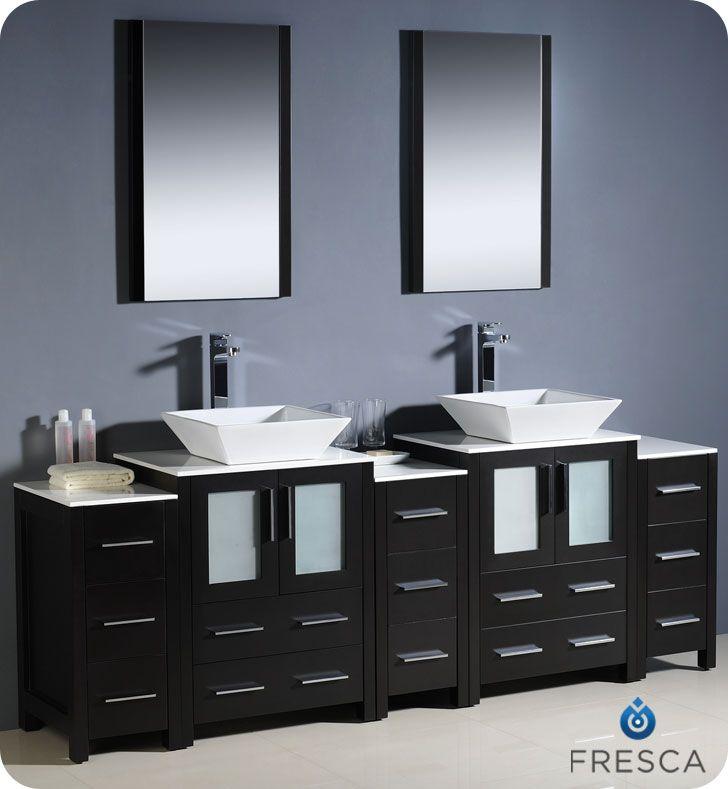 Fresca 84 Espresso Double Vessel Sink Bath Vanity 3 Cabinets Mirrors Faucets