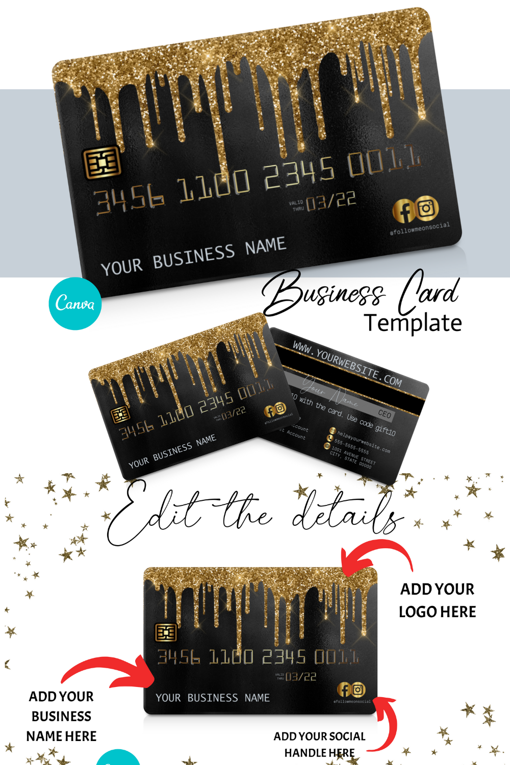DIY Gold Glitter Drip Credit Card Business Cards. Canva