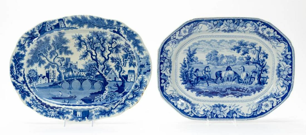 For Auction: TWO BLUE & WHITE ENGLISH STAFFORDSHIRE PLATTERS (#0927) on Oct 25, 2020 | Ahlers & Ogletree Auction Gallery in GA