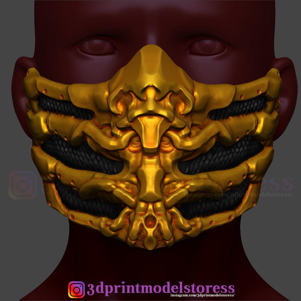 Scorpion Mask From Mortal Kombat Halloween Costume Cosplay 3d