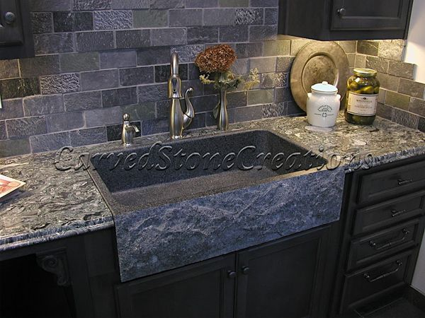 This Charcoal Grey Granite Sink Has A Rockface Apron And A Polished Basin  And Looks Fantastic With The Brick Veneer Back Splash And Marble Countertops .