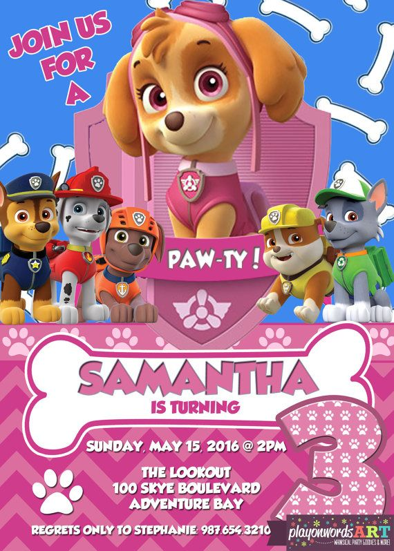 Skye Birthday Invitation Paw Patrol By PlayOnWordsArt