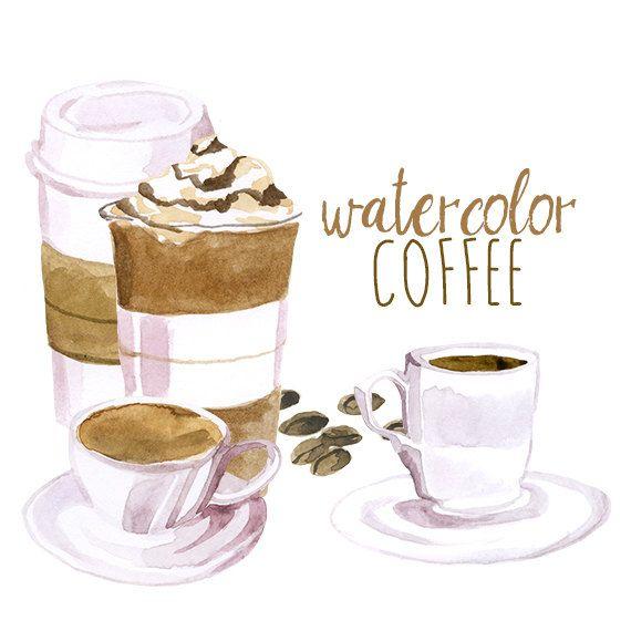 Watercolor Coffee Clip Art Artistic Late Clipart Cappuccino