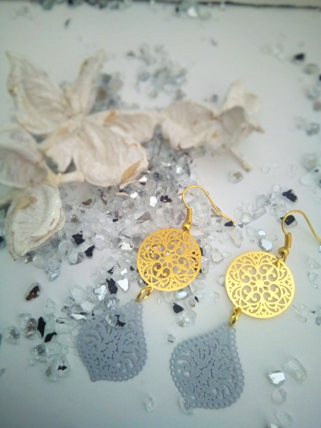 Dangle and drop goledn plated and grey enamel earrings /chandelier ...