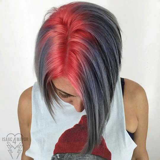 Scarlet Roots And Smokey Ash Grey Ombre For Short Hair Color Idea Red Auburn Hair Short Cool Hair Color Hair Styles Hair Color Unique