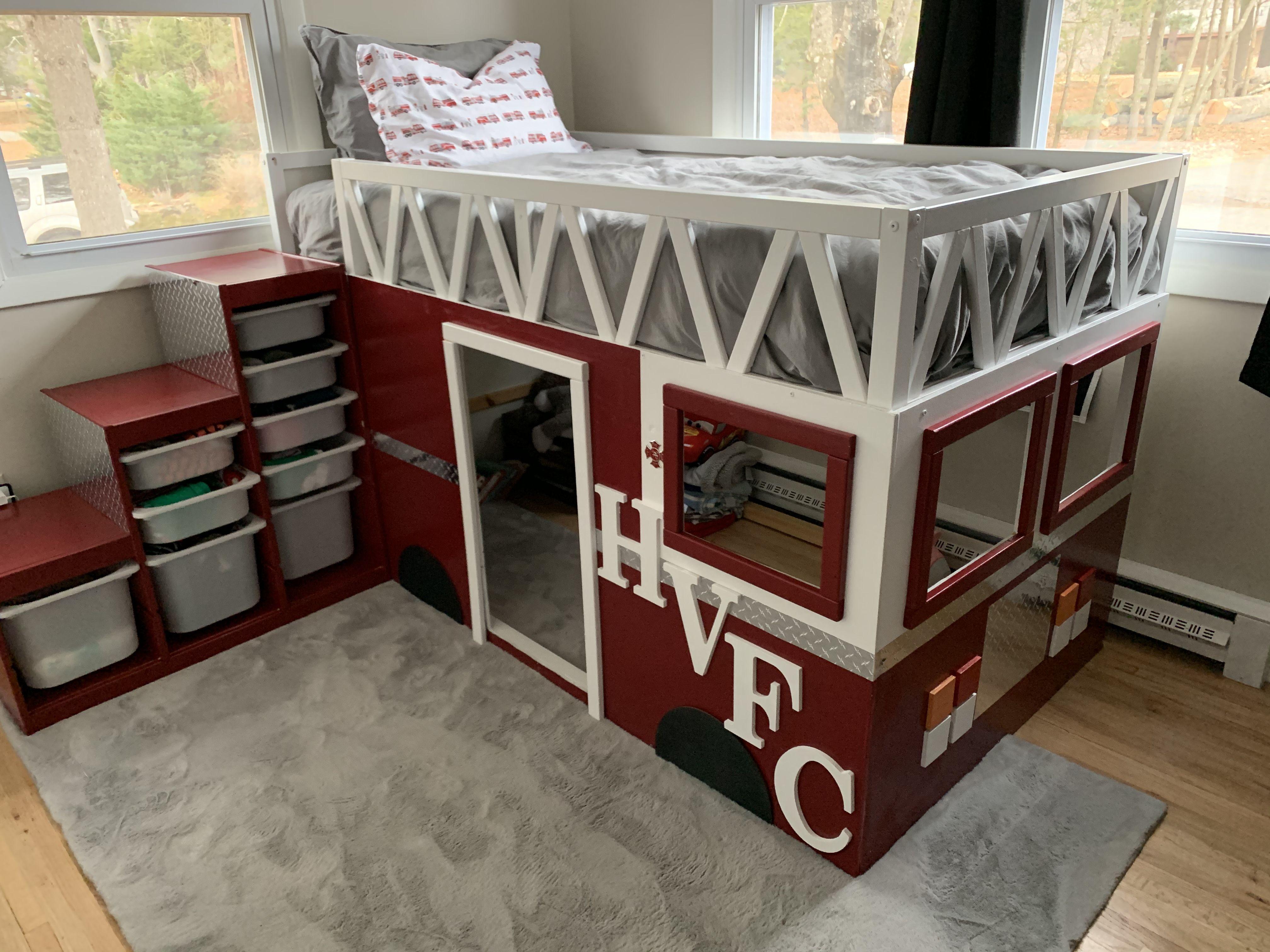 Ikea Kura Fire truck bed hack | Truck bed, Fire trucks