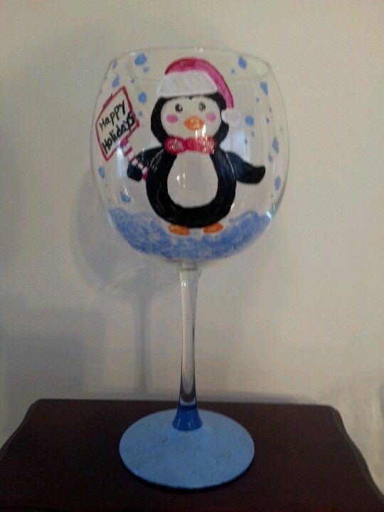 Hand painted penguin wine glass
