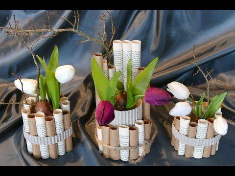 Frühlingsdeko Basteln frühlingsdeko basteln aus verschiedenen papieren vase einfach