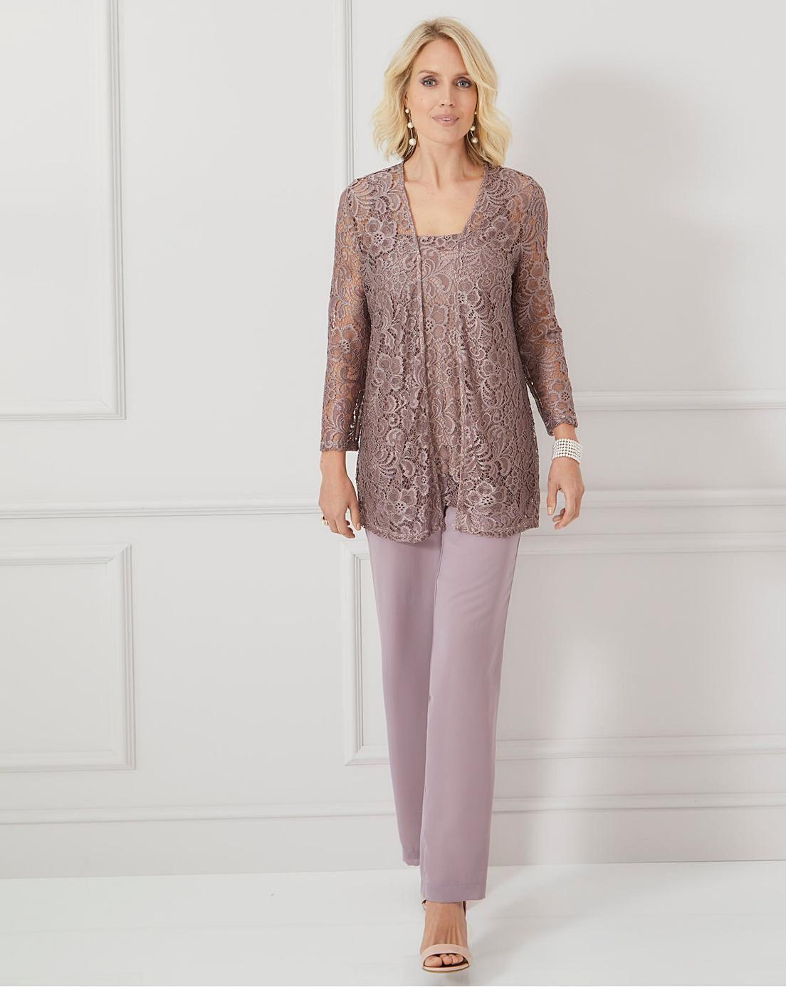 Nightingales Lace 3 Piece Trouser Set Chiffon Fashion Mother Of The Bride Pants Outfit Chiffon Pants [ 1387 x 1104 Pixel ]