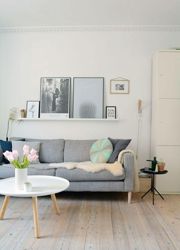 Estilo escandinavo diseno interiores salon sofa color gris - Salones estilo escandinavo ...