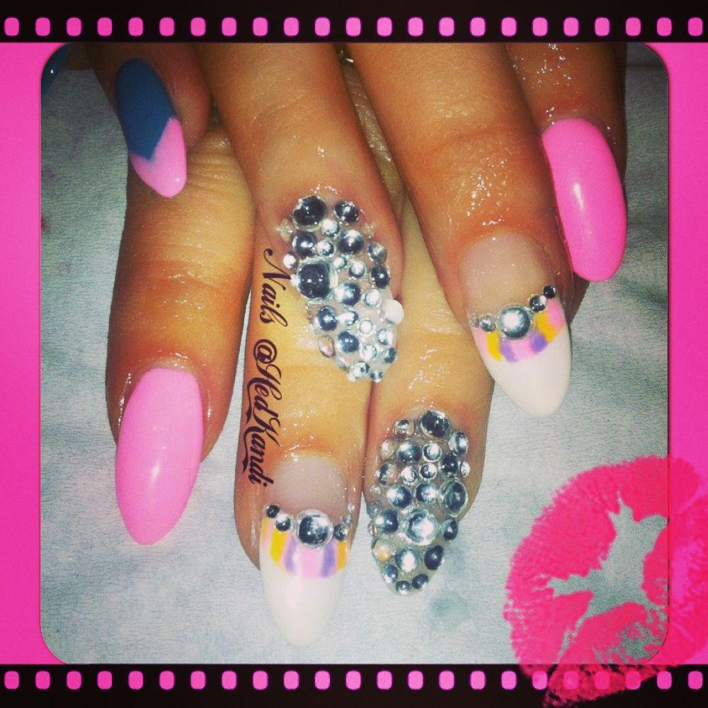 Bubble gum pink gel nails with diamonds