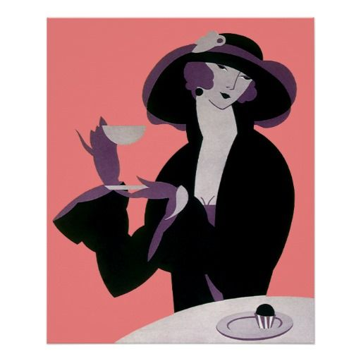Vintage Art Deco Woman Afternoon Tea and Pastry Print