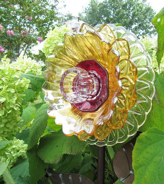 Glass Garden Art Plate Flower Yard Art Suncatchers Garden