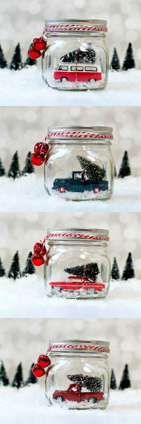 Mason Jar Snow Globes: Vintage Cars & Trucks #masonjardiy