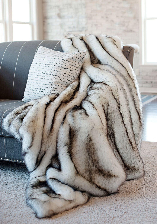 Luxury Designer Norway Fox Faux Fur Throw Luxurioser Designer Norwegischer Fuchs Fellimitatuberwurf Bedspreads Comforters Fur Throw Blanket Luxury Furniture