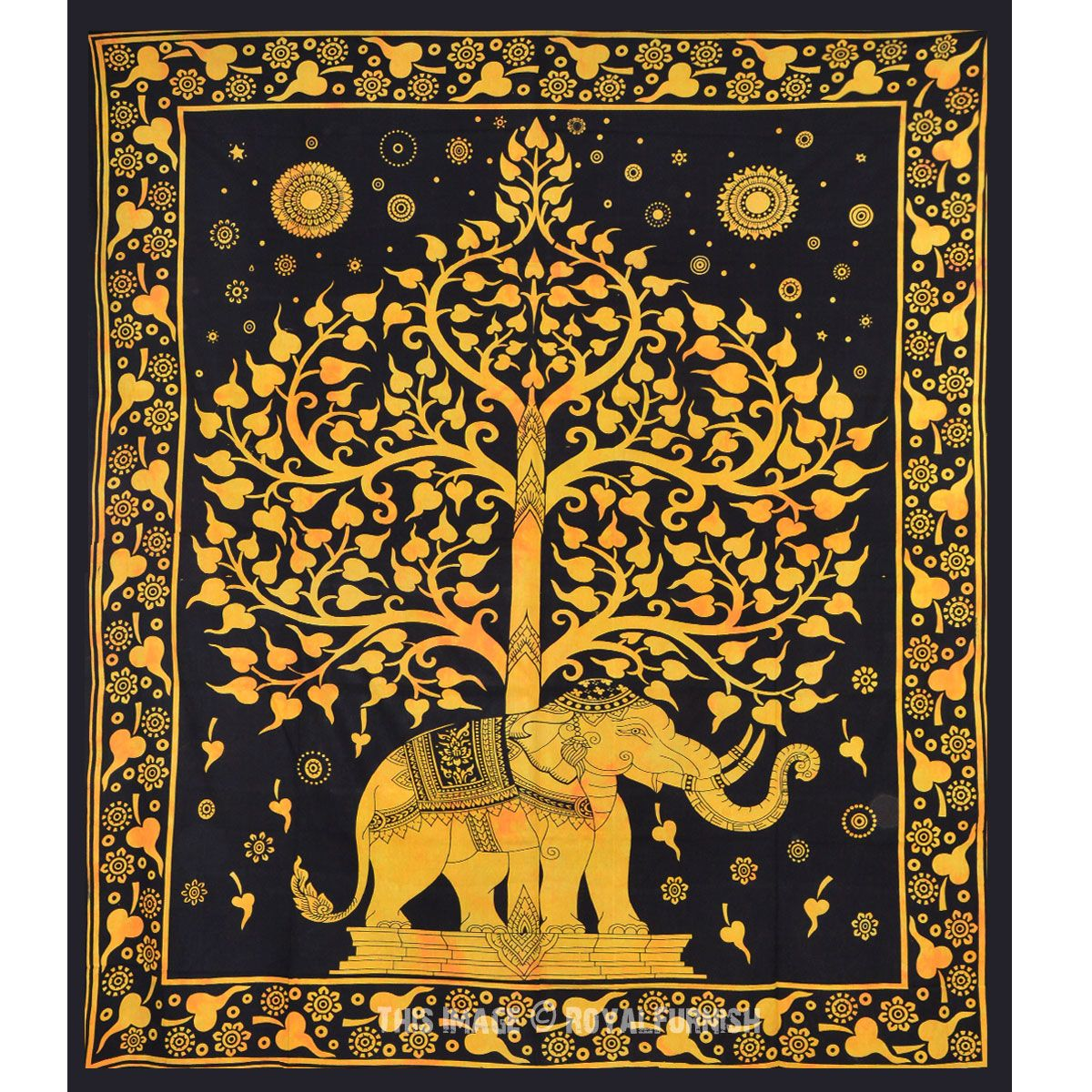 Elephant Tapestry Wall Hanging black and gold elephant and tree hippie tapestry wall hanging