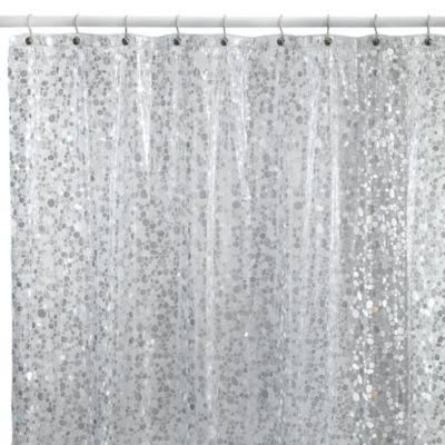 Pebbles Shower Curtain In Silver 70 X 72 Bathroom  Sparkle Accessories Breathtaking Glitter Contemporary