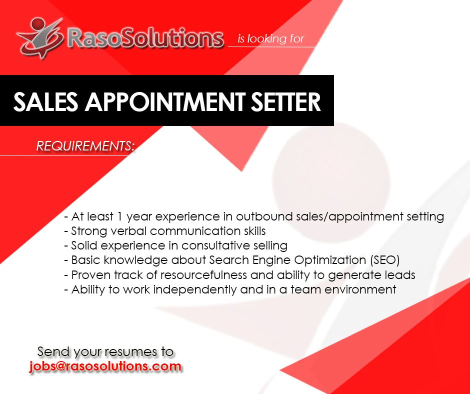 Raso Solutions is hiring appointment setters Cebu Jobs - send resume to jobs
