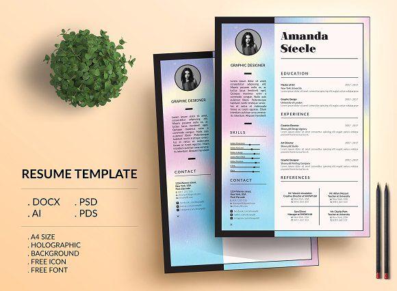 Holographic Cv Resume Template  N Creativework  Resume Help