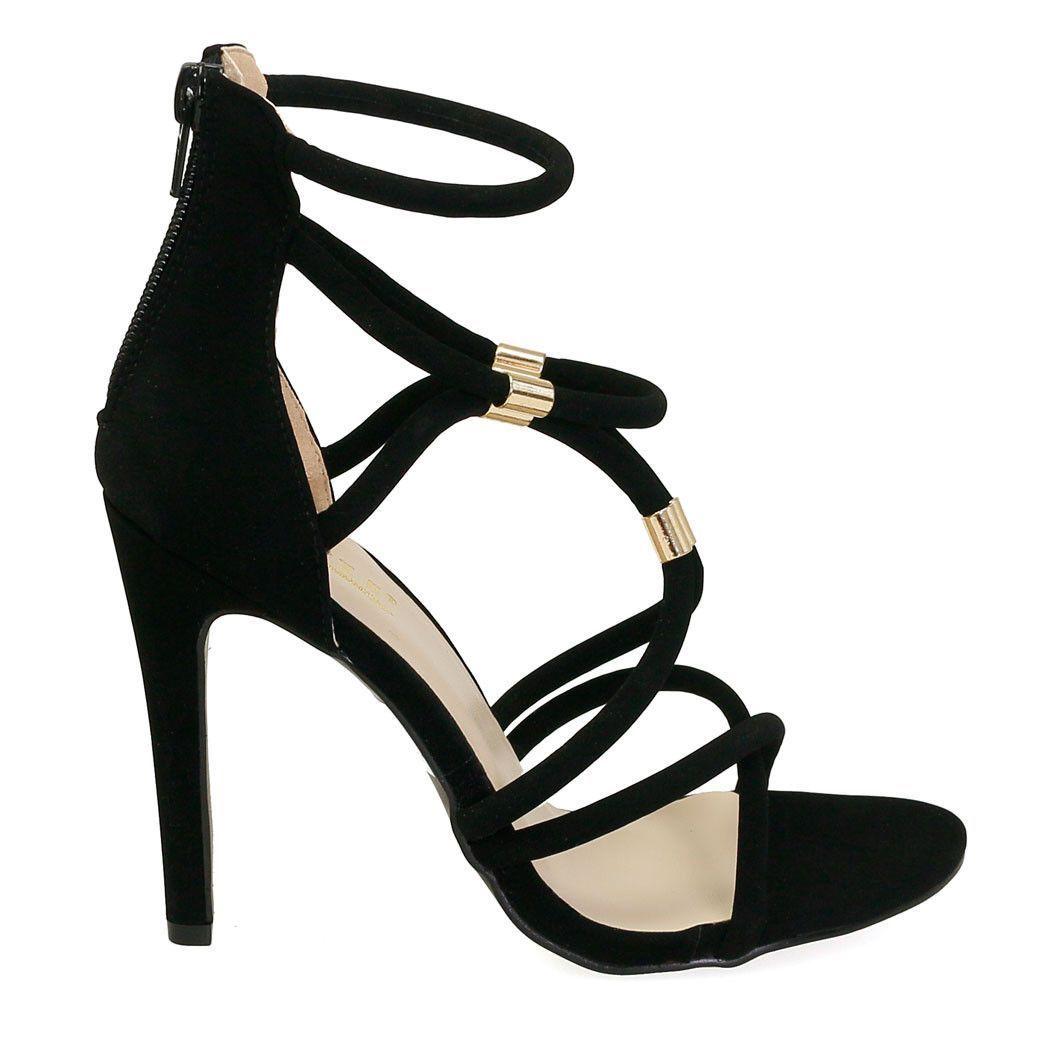 Max-1 Black Single Sole Studded Heels