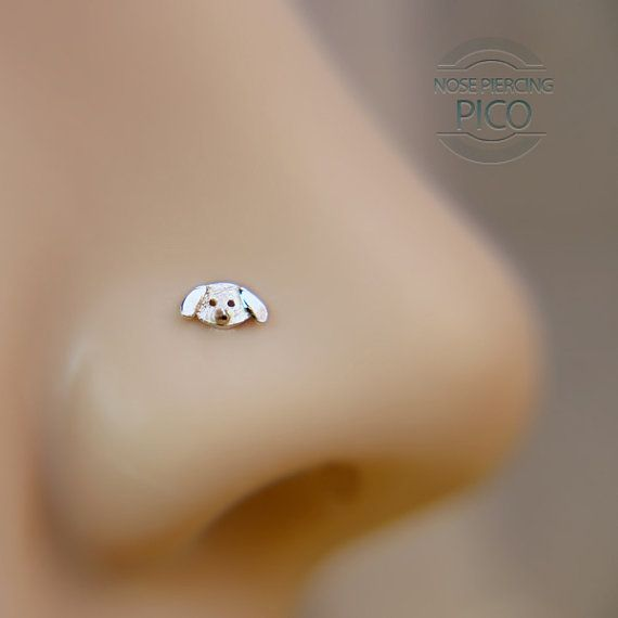 Nose Stud Tiny Dog Customize Sterling  /nose by PicoNosePiercing