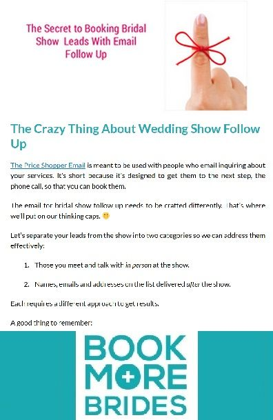 The Secret to Booking Bridal Show Leads With Email Follow Up - sample follow up email