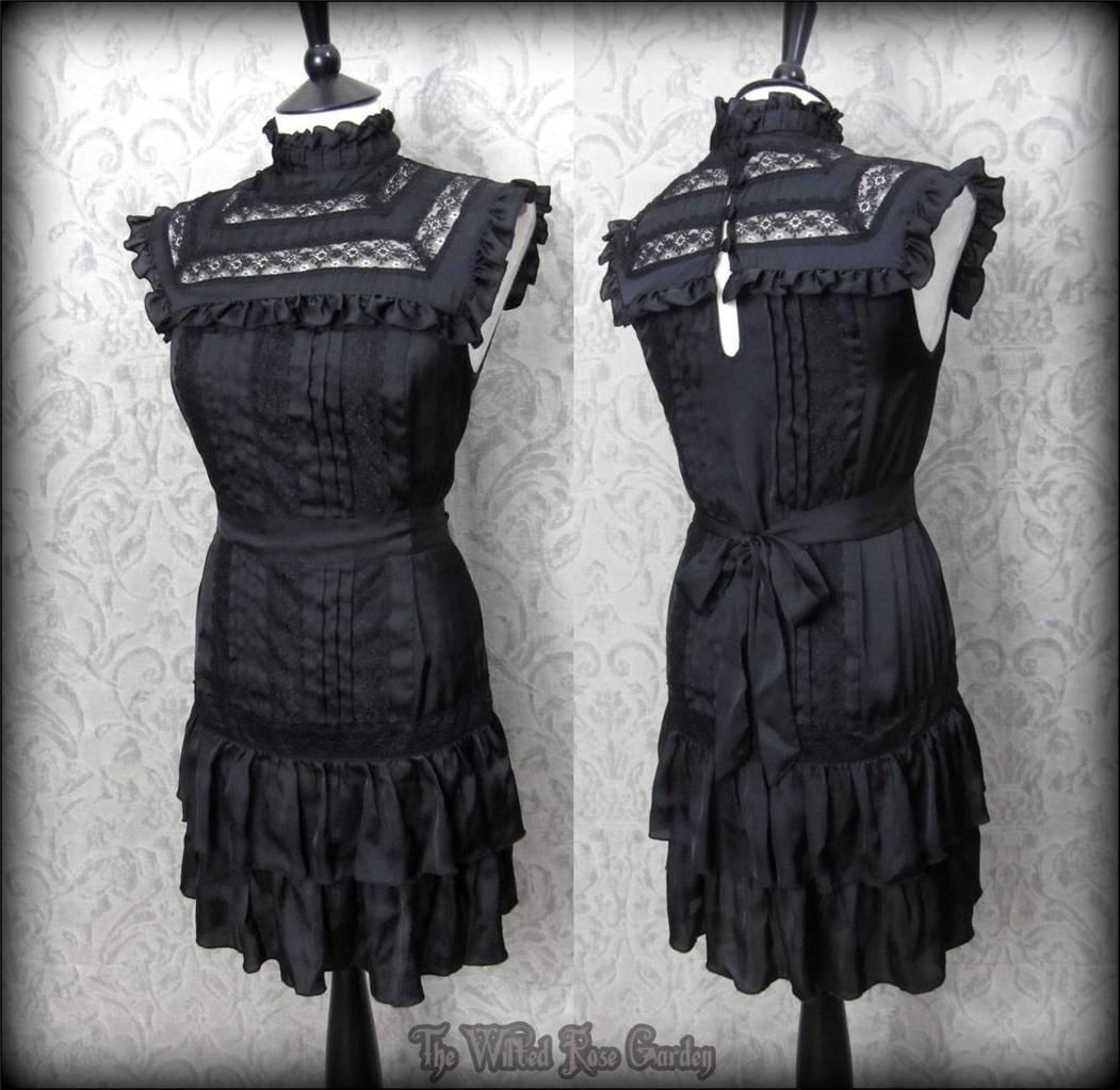 Victorian goth black satin lace frilly high neck governess dress