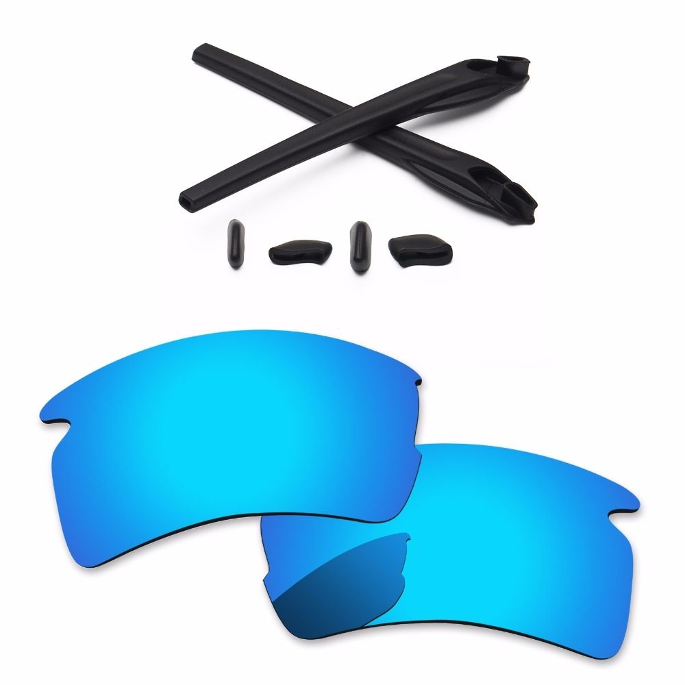 ea99affa55d PapaViva Ice Blue Polarized Replacement Lenses and Black Rubber Kit for Flak  2.0 XL Sunglasses Frame