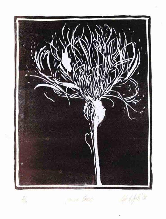 Flower Series Original Lino Block Print Disegno Arte Immagini