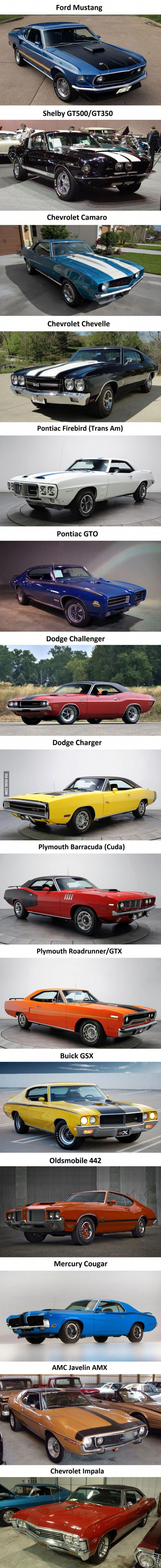 Some car porn featuring the most iconic muscle cars.