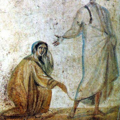 """""""E in quell'istante la Donna guarì""""-Emorroissa, Catacombe dei SS Marcellino e Pietro"""