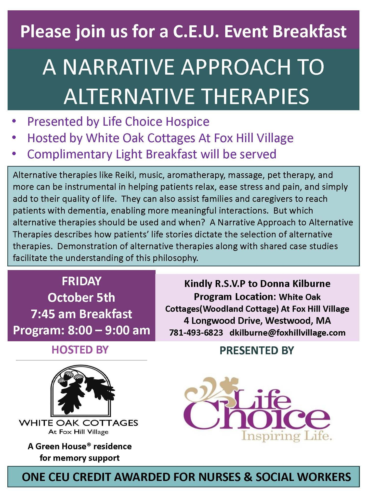 A Narrative Approach To Alternative Therapies