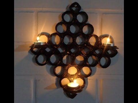 Porta vela de pared de papel peri dico falso mimbre - Materiales para hacer paredes ...