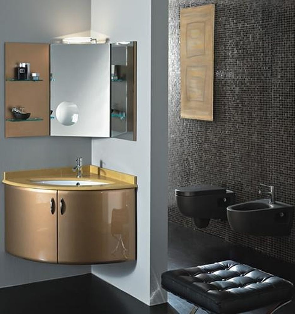 Representation Of Corner Vanity Set Solution For Small Space - Corner mirror for bathroom for bathroom decor ideas